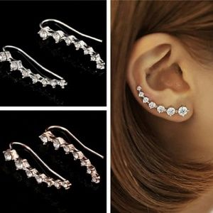 Crystal Studded Ear Climber Earrings